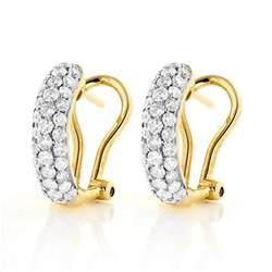 huggie earrings 14k pave hoop huggie earrings 1 04ct