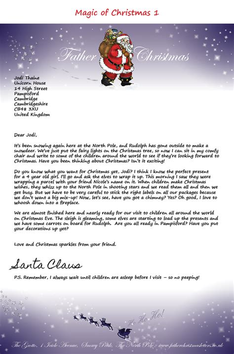 letters from father christmas letter from santa letter from father christmas santa letter