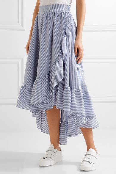 maje wrap effect ruffled striped poplin midi skirt net