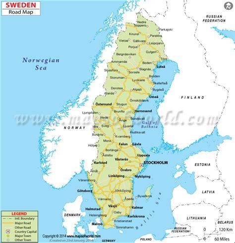 sweden on a map sweden road map