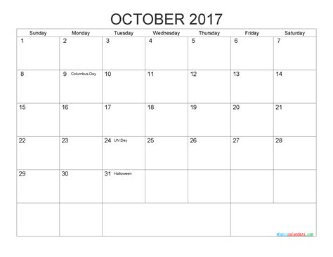printable october 2017 calendar with holidays free printable calendar october 2017 as pdf and image