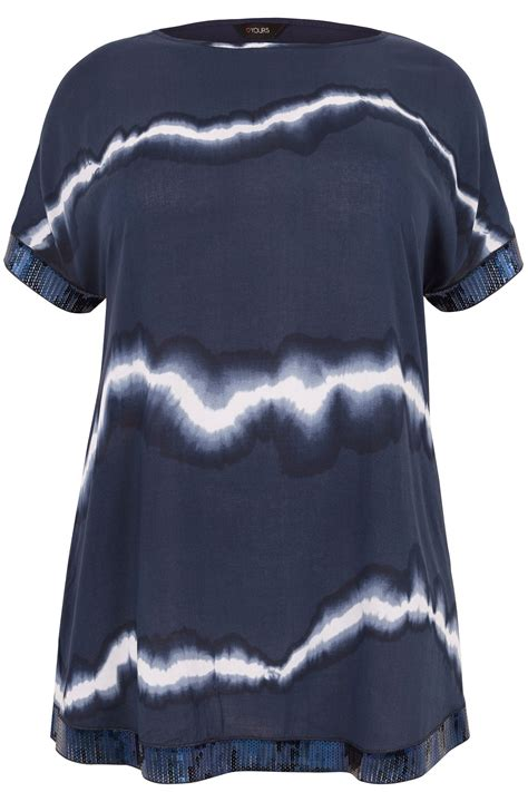Chiffon Sequin Pouch By Bags To Die For by Navy Tie Dye Chiffon Cape Top With Sequin Trim Plus Size