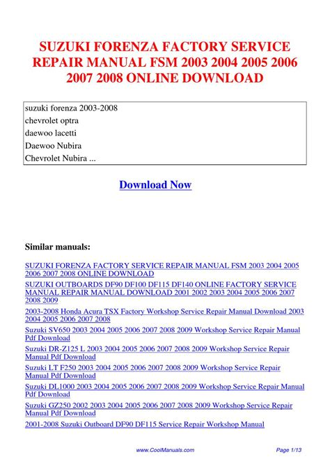 suzuki forenza factory service repair manual fsm 2003 2004 2005 2006 2007 2008 by kai kaik issuu