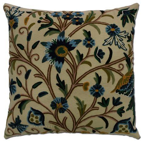 Crewel Pillows by Sosan Crewel Cushion Cover Embroidered Cotton Pillow