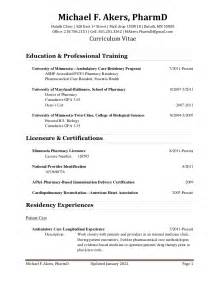 Ambulatory Care Pharmacist Sle Resume by Cv