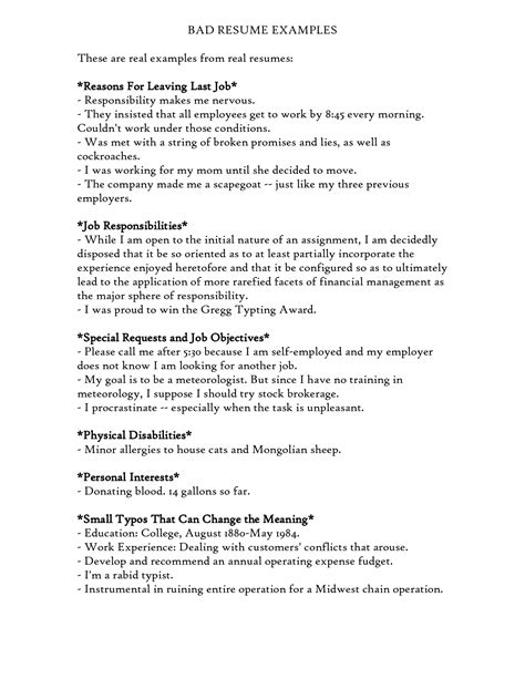 Bad Resume Sles Pdf Exles Of Bad Resumes Template Resume Builder