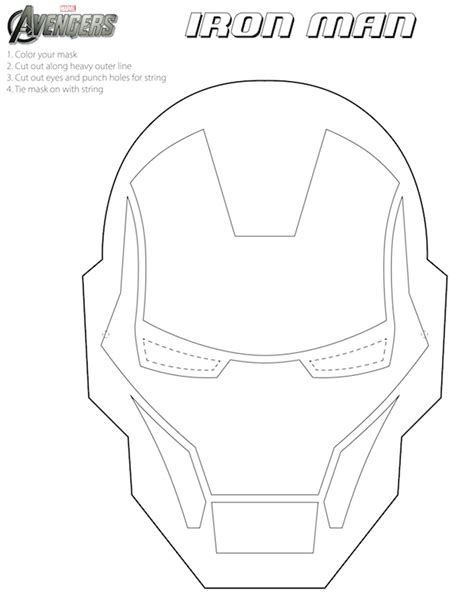 iron man helmet coloring pages printable halloween masks