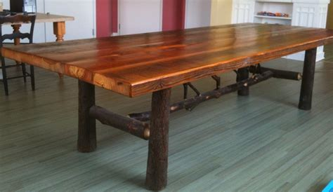 antique reclaimed pine and hickory dining table rustic