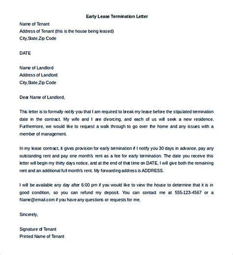 landlord termination of lease letter template 9 lease termination letter template
