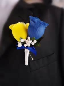 Blue Boutonniere Royal Blue And Yellow Men Prom Wedding Boutonniere Artificial Flowers