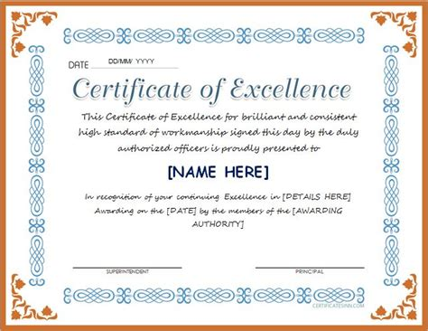 certificate of excellence for ms word at http