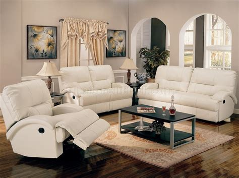 White Leather Living Room Chair - white bonded leather motion living room sofa w options