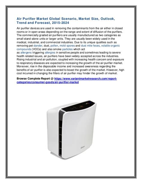 air purifier market global scenario market size outlook trend and