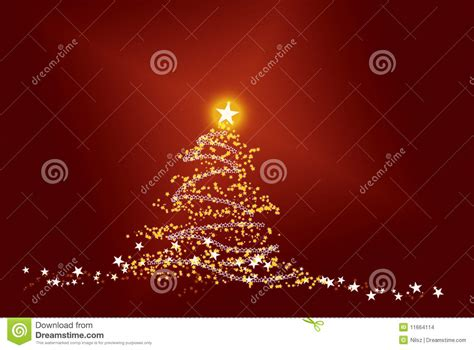 shiny star christmas tree  red background stock images