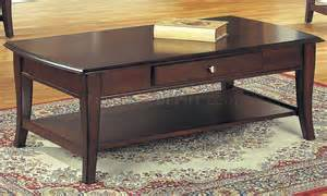 classic brown coffee table end tables 3pc set w drawer - Brown Coffee Table Set