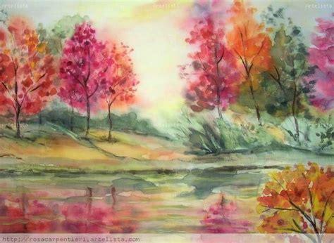 imagenes de paisajes en acuarela paisaje con lago rosa carpentieri artelista com