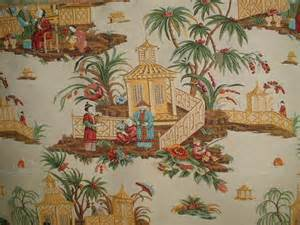 Oriental Design Upholstery Fabric Oriental Toile Fabric Chinese Red Jonquil Pagoda