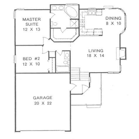 Basement Floor Plans 1000 Sq Ft Traditional Style House Plan 2 Beds 2 Baths 1000 Sq Ft