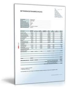 Muster Formular Nebenkostenabrechnung Betriebskostenabrechnung Tabelle Mit Formeln Zum