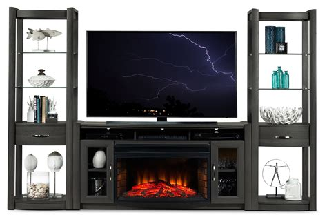 gallagher 4 fireplace entertainment wall unit grey - Entertainment Wall Unit With Fireplace