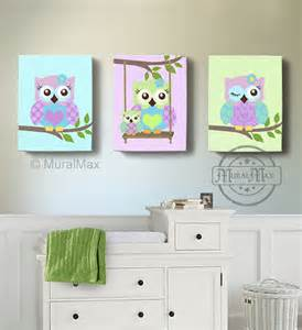 Purple And Green Nursery Decor Green And Purple Owl Nursery Room Decor Owl Canvas