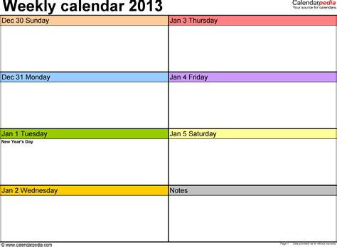 printable view html weekly calendar 2013 for excel 4 free printable templates
