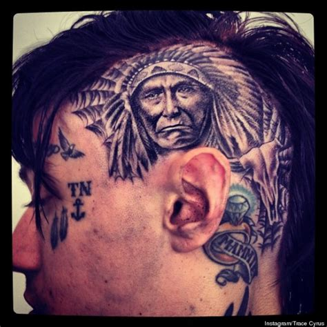 trace cyrus miley s older brother shows off scalp tattoo