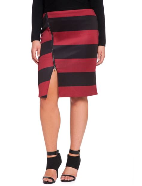 Zip Side Pencil Skirt striped side zip pencil skirt s plus size skirts