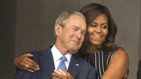 Picture Of Inauguration Crowd by Michelle Obama George W Bush Share A Moment At The