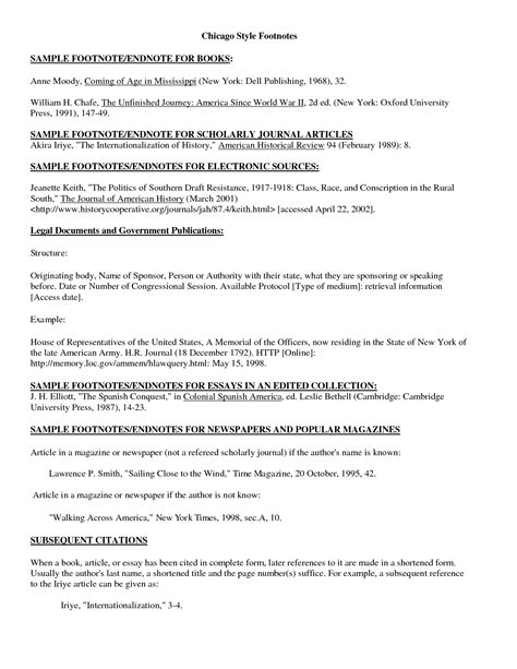 format of footnotes chicago style 8 best images of paper with footnotes chicago style