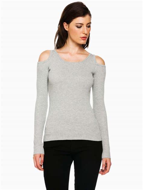 Open Shoulder hera collection grey open shoulder sweater modishonline