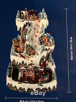 musical led ski village tower  rotating train lights plays  christmas songs