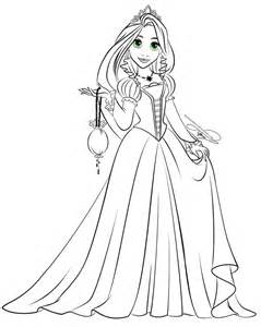 Rapunzel Disney Black And White Sketch Coloring Page sketch template
