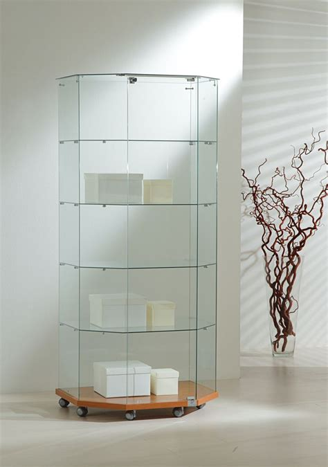 Tempered Glass Cabinet Doors Our Half Octagon Display Showcase Features A Lockable Door Four Tempered Glass Shelves And Is