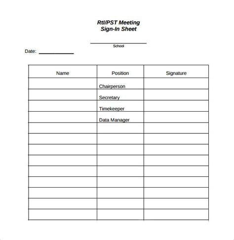 14 Sle Meeting Sign In Sheets Sle Templates Rti Schedule Template