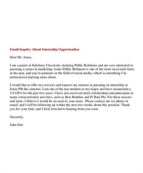 6 internship email exles sles pdf