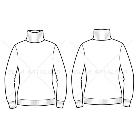 sweater template s turtleneck sweater fashion flat template