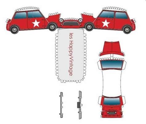 Mini Cooper Papercraft - rainy day free printable toys toys therapy and crafts