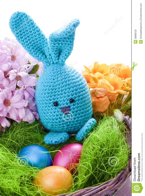 Handmade Easter - handmade easter bunny with colorful flowers royalty free