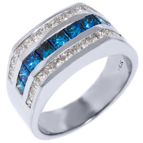 mens 14kt white gold blue ring wedding band