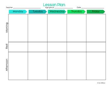 Preschool Lesson Plan Templates Editable By Erin Holleran Tpt Toddler Lesson Plan Template