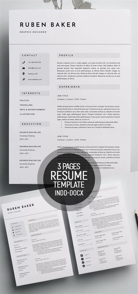 Resume Template 50 by 50 Best Minimal Resume Templates Design Graphic Design
