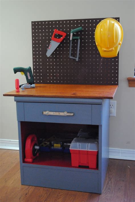 kids tool work bench diy thrift store night stand kids workbench