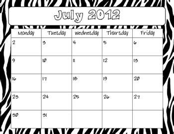 zebra printable calendar free zebra print 2012 2013 calendar august pinterest