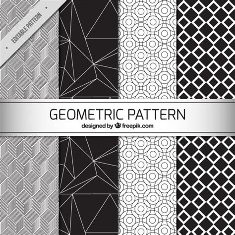 geometric pattern ai download four black and white geometric patterns vector free download