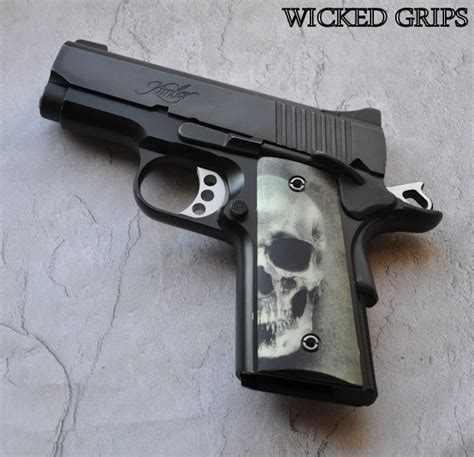 Grey Ltd Barracuda Grips Best Quality 1 1 Replica 1911 officers thin quot 3d green skull quot grips