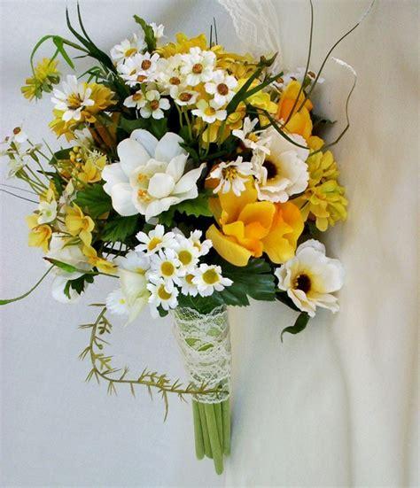 wildflower arrangements spring wedding flowers yellow wildflowers silk rustic