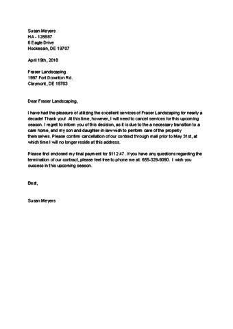 Fitness Connection Cancellation Letter