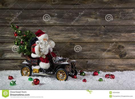funny wooden christmas background  santa   voucher   stock photo image