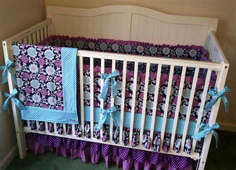 purple crib bedding sets for crib bedding set purple and aqua ruffled by butterbeansboutique